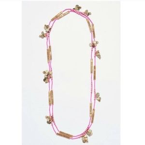 Anthropologie Pink and Gold Beaded Charm Necklace